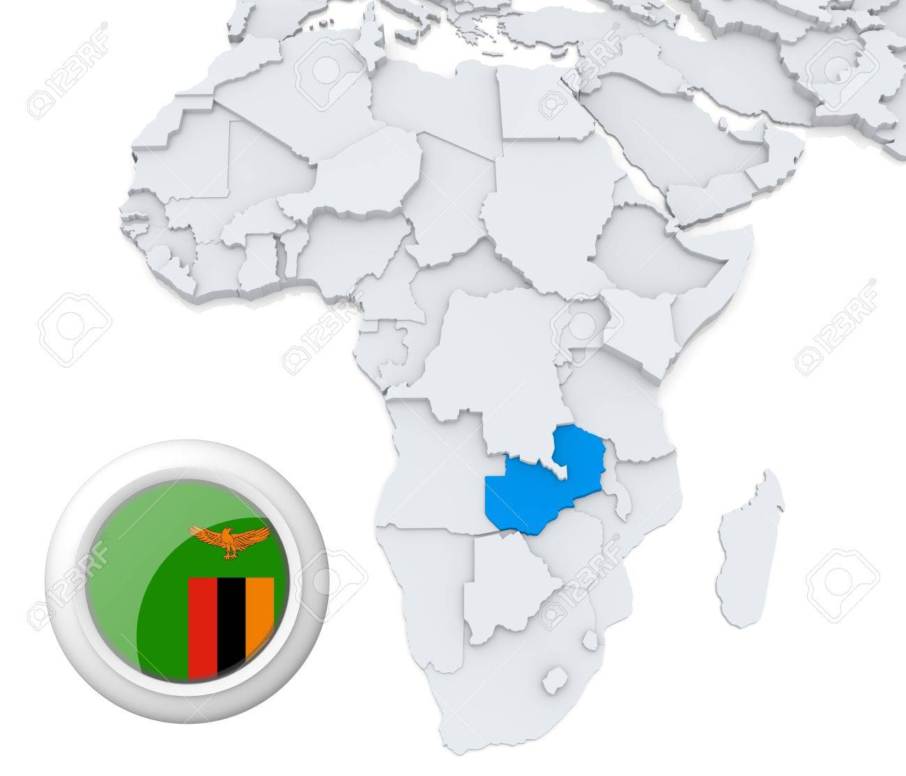 Map Of Africa Zambia.3d Modeled Map Of Africa With Highlighted State Of Zambia With