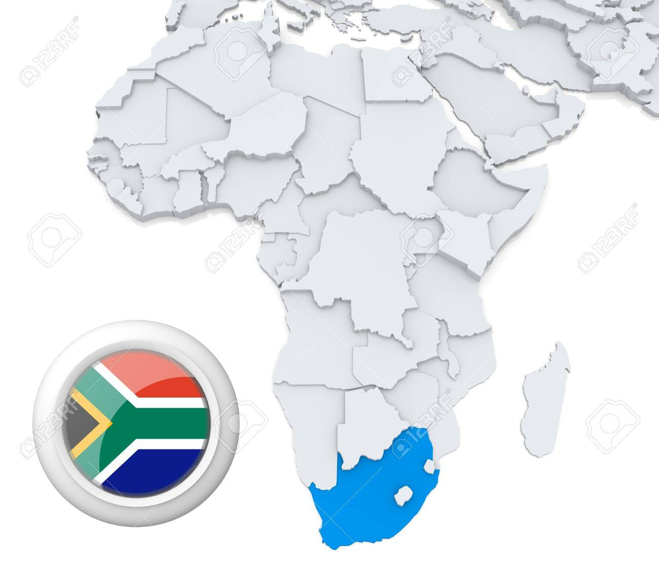 3D Modeled Map Of Africa With Highlighted State Of South Africa