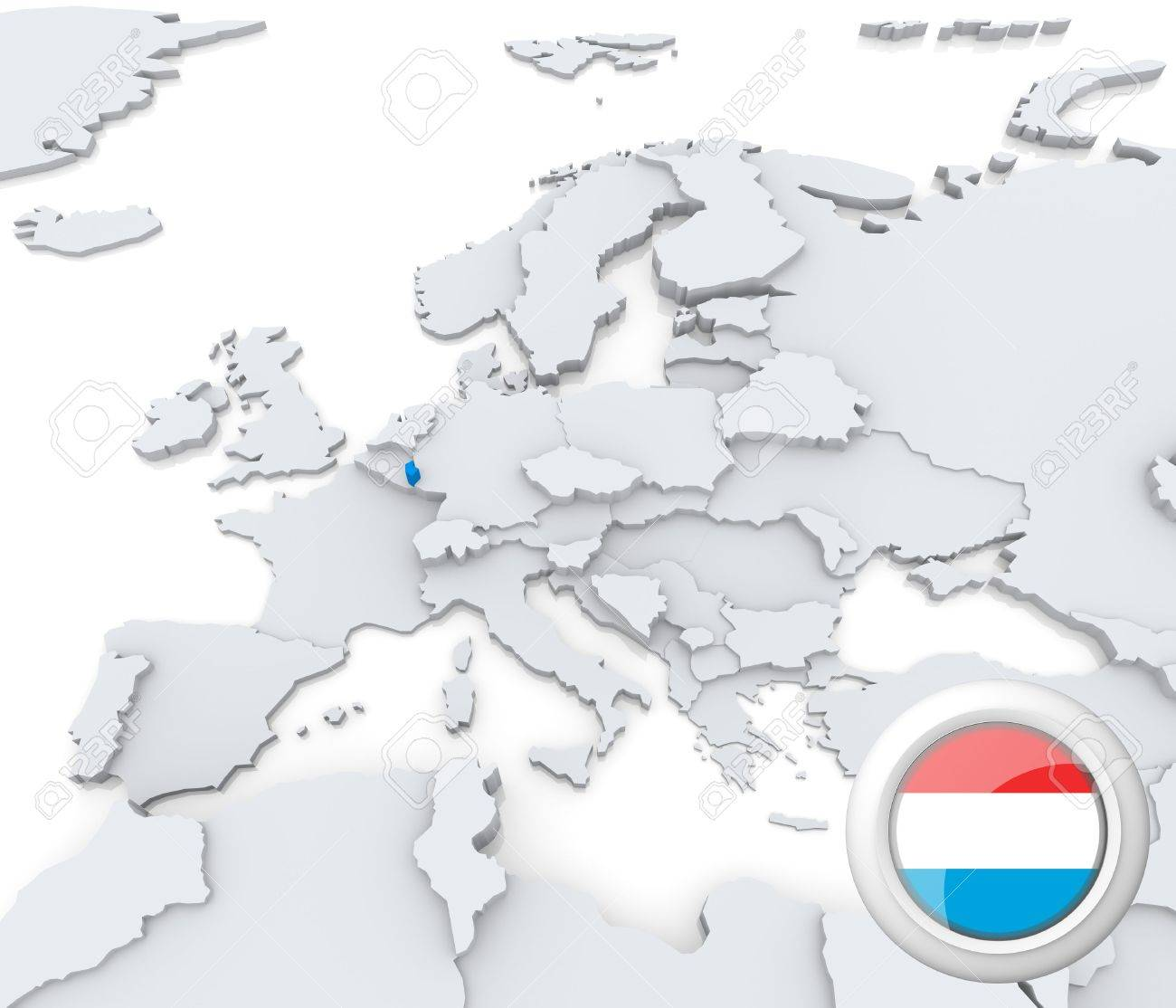 Highlighted Luxembourg On Map Of Europe With National Flag Stock