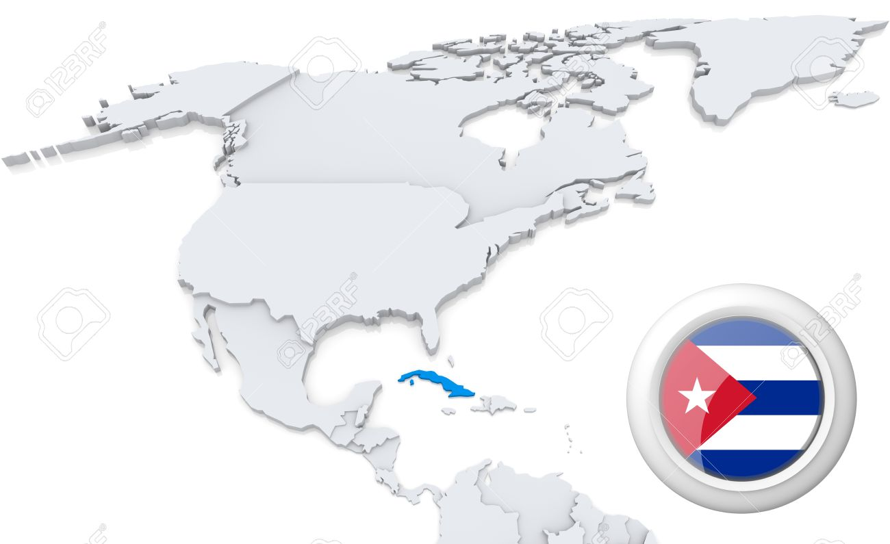 Highlighted cuba on map of north america with national flag stock highlighted cuba on map of north america with national flag stock photo 21434176 gumiabroncs Image collections