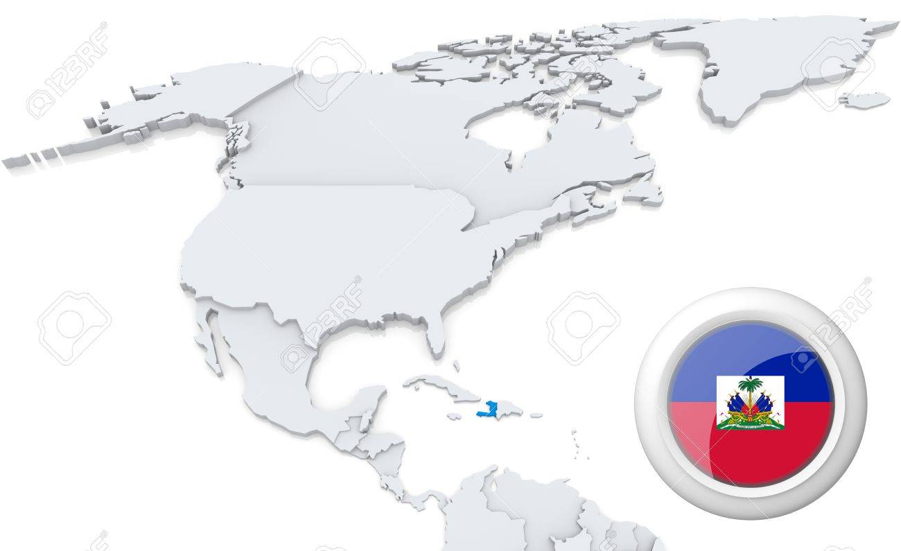 Highlighted haiti on map of north america with national flag stock highlighted haiti on map of north america with national flag stock photo 21434197 gumiabroncs Images