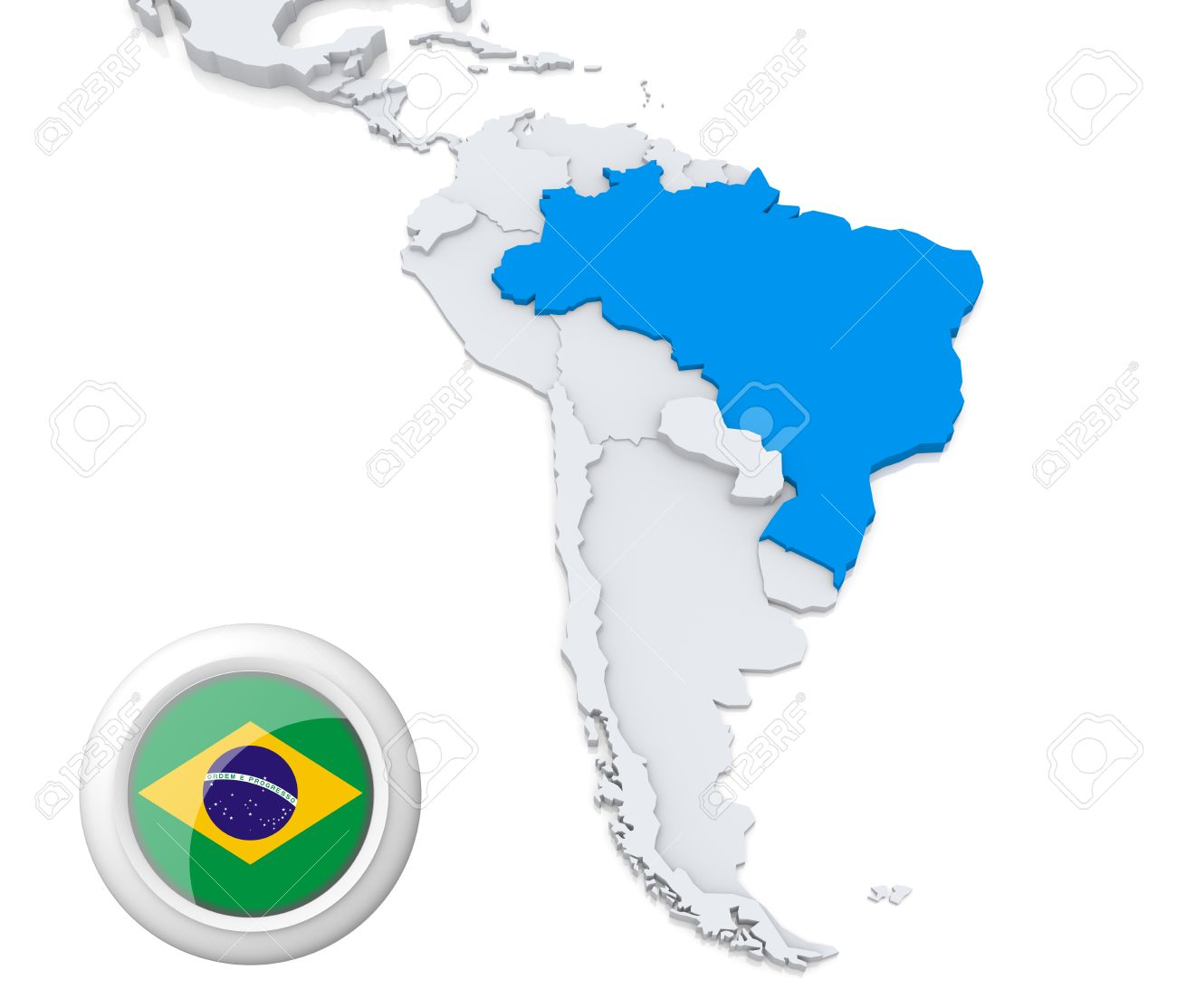 Highlighted Brazil On Map Of South America With National Flag - South america map and flags