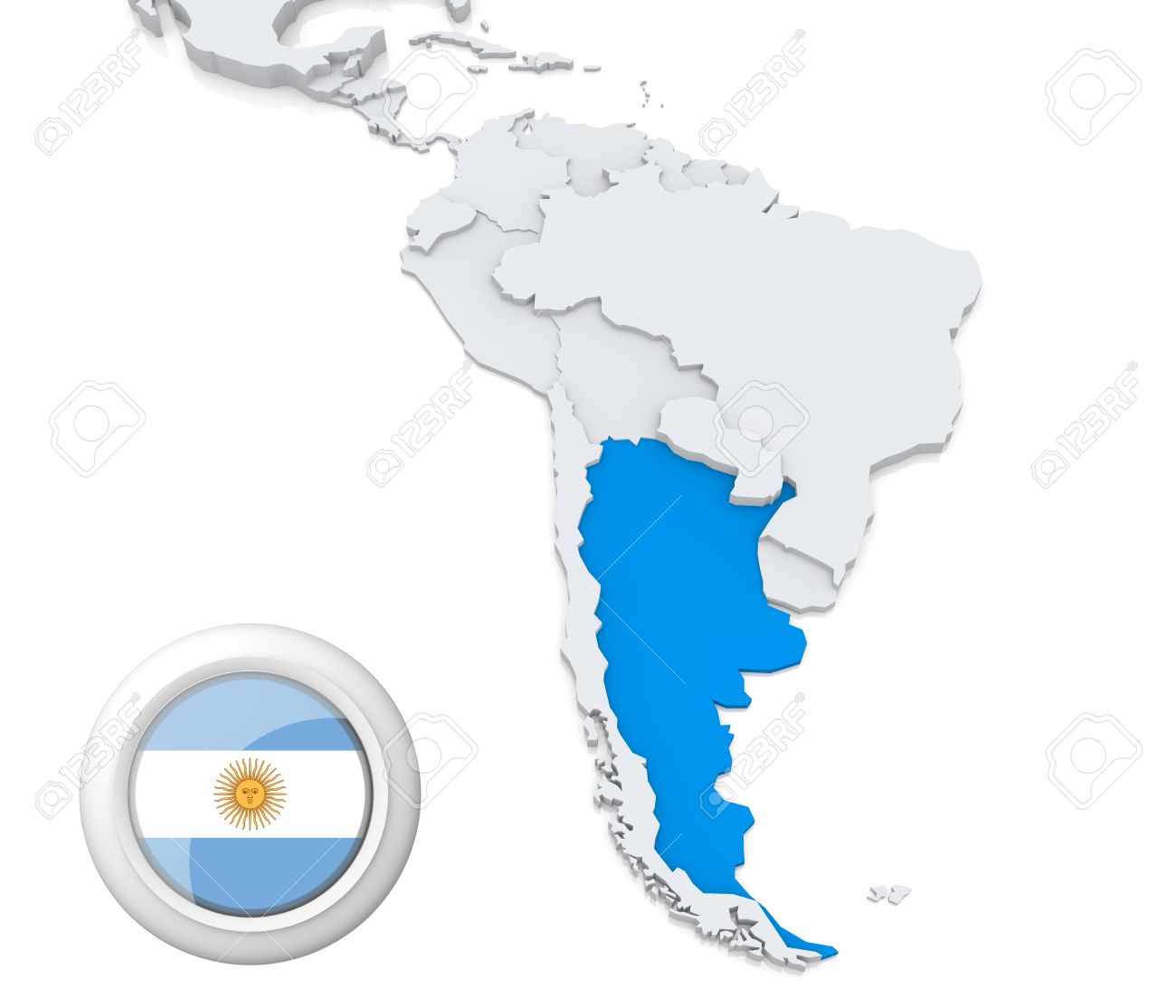 Highlighted Argentina On Map Of South America With National Flag