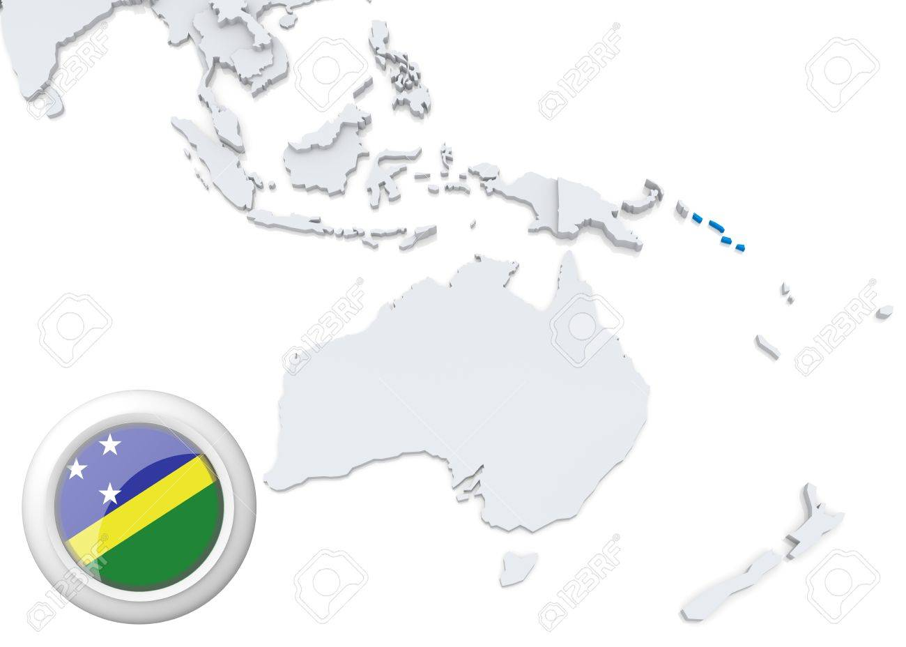 Map Of Australia Islands.Highlighted Solomon Islands On Map Of Australia And Oceania With