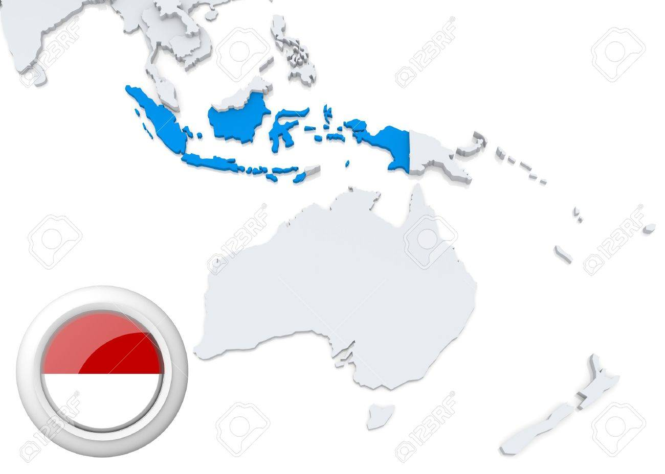 Highlighted indonesia on map of australia and oceania with national highlighted indonesia on map of australia and oceania with national flag stock photo 21826526 gumiabroncs Choice Image