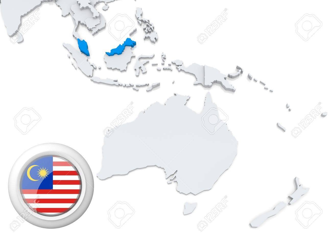 Carte Australie Malaisie.Actualites En Matiere De Malaisie Sur La Carte De L Australie Et De L Oceanie Avec Le Drapeau National