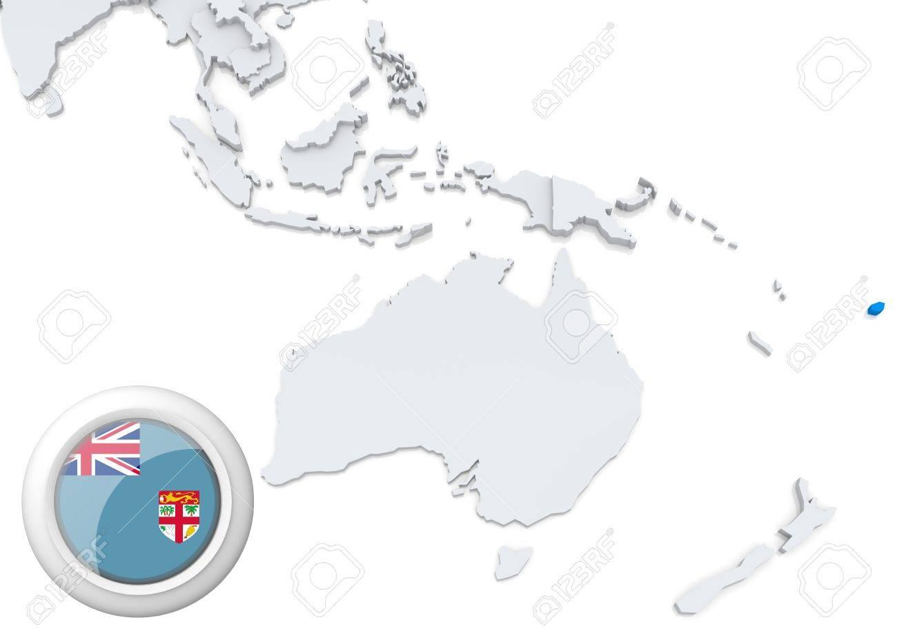 Carte Australie Fidji.Actualites En Matiere De Fidji Sur La Carte De L Australie Et De L Oceanie Avec Le Drapeau National