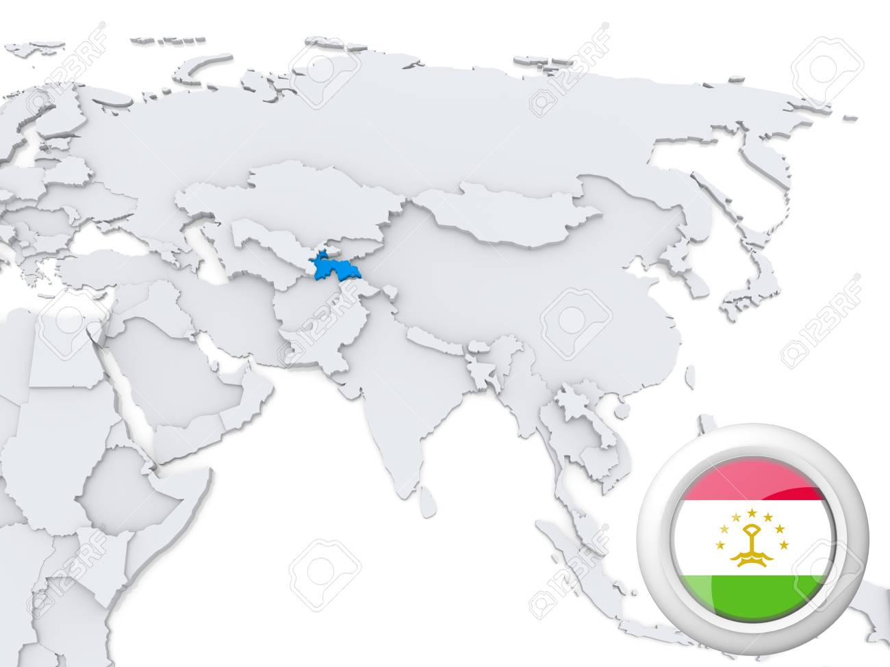 Highlighted Tajikistan On Map Of Asia With National Flag Stock Photo ...
