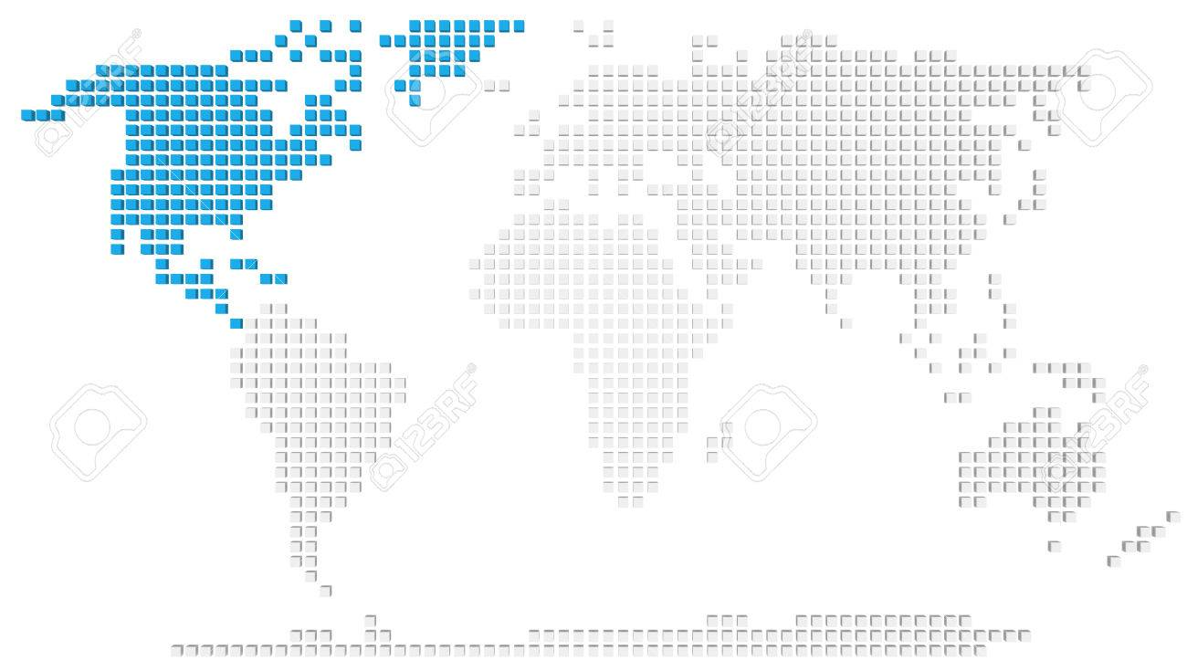 Abstract Map Of The World.Abstract Map Of The World With Highlighted North America Stock Photo