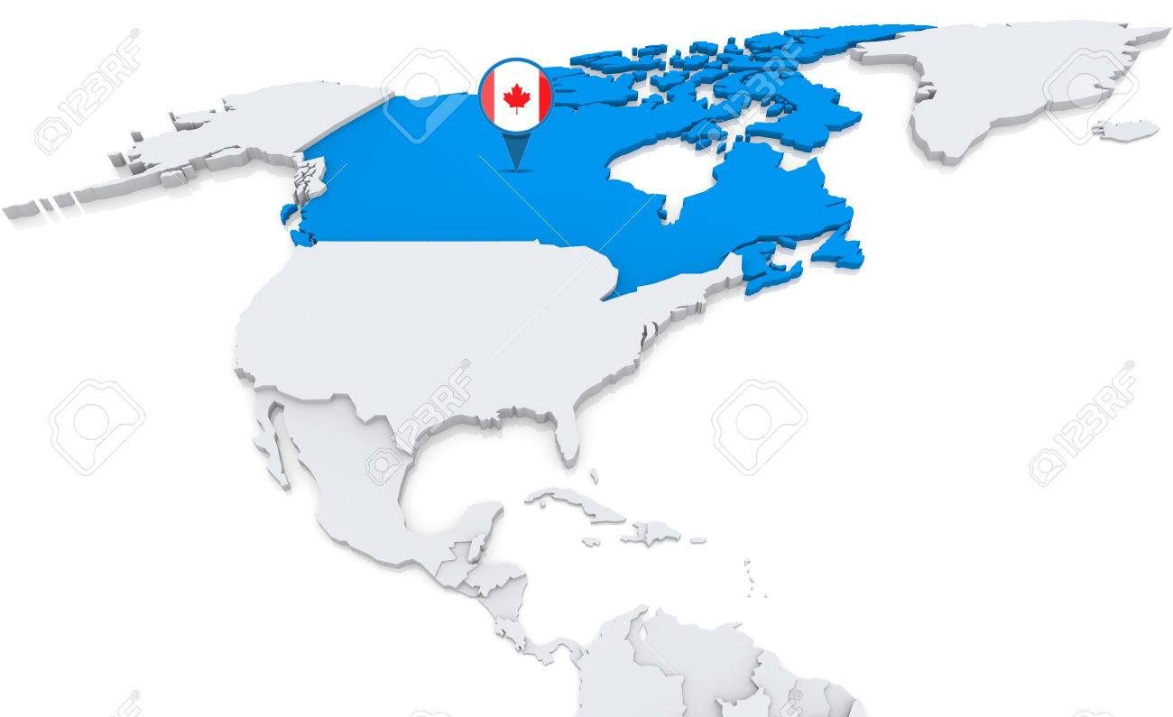Highlighted Canada On Map Of North America With National Flag Stock ...