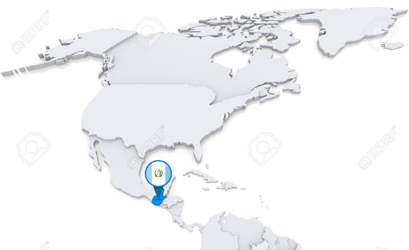 Highlighted Guatemala On Map Of North America With National Flag ...