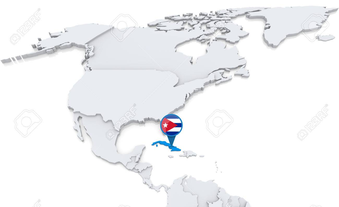 Highlighted cuba on map of north america with national flag stock highlighted cuba on map of north america with national flag stock photo 30202369 gumiabroncs Images