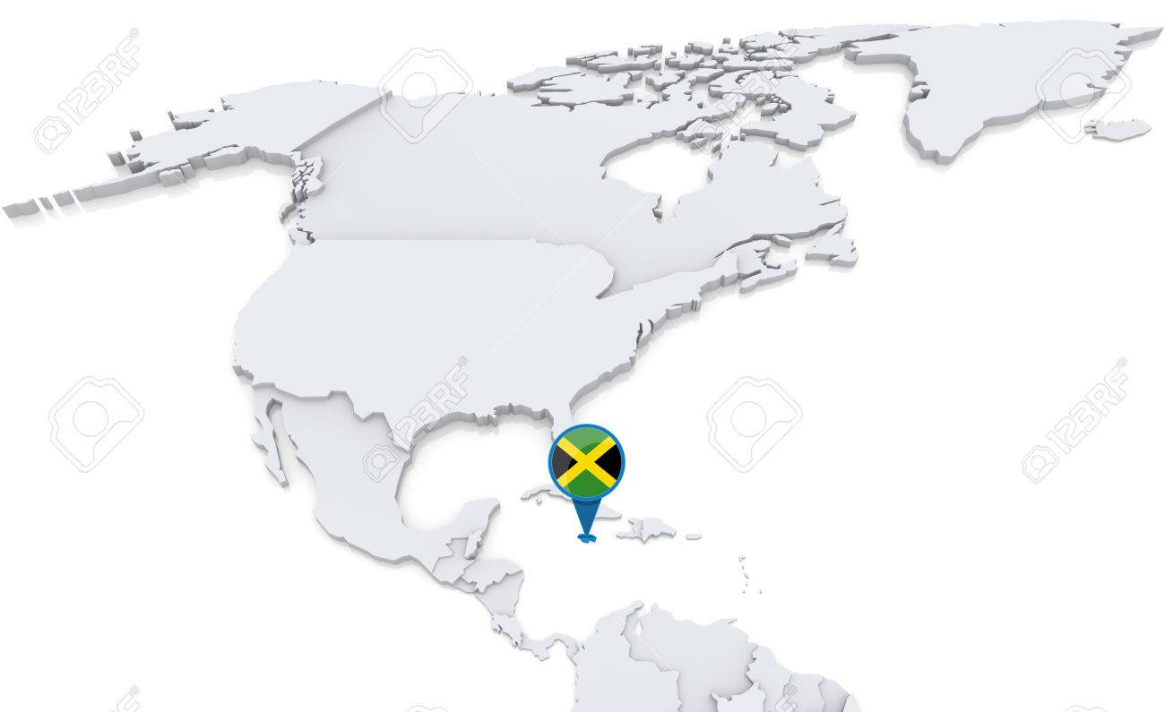 Highlighted Jamaica On Map Of North America With National Flag Stock