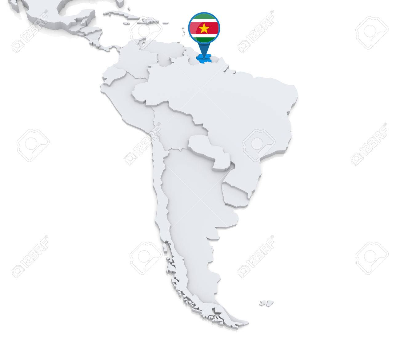 Highlighted Suriname On Map Of South America With National Flag