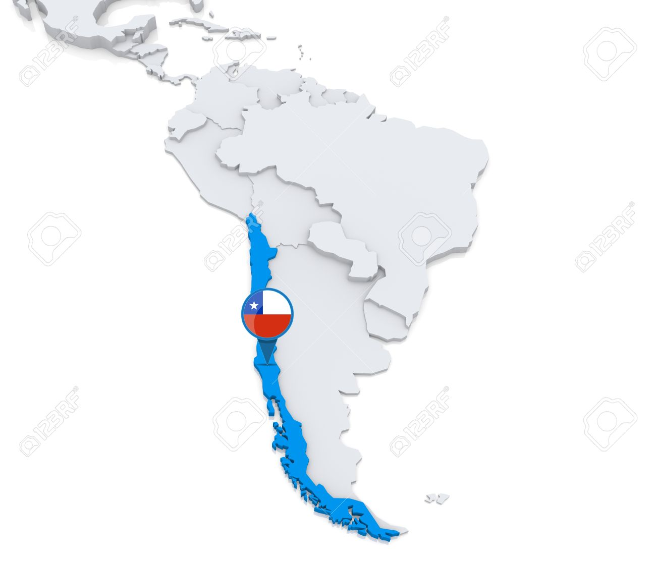 Highlighted Chile on map of south america