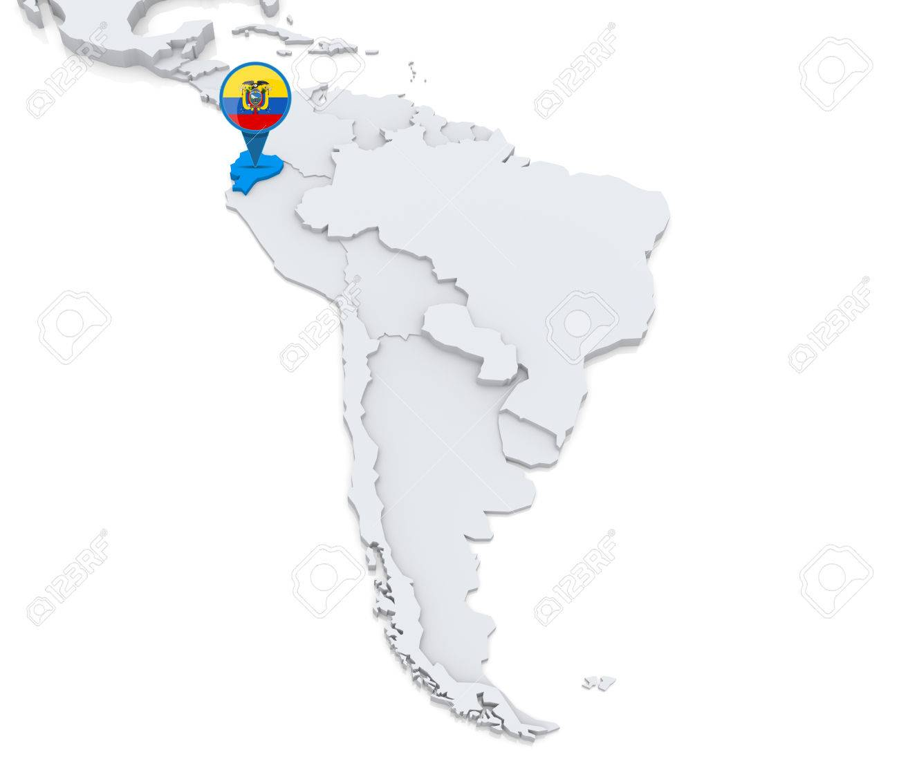 Highlighted Ecuador On Map Of South America With National Flag - Ecuador south america map