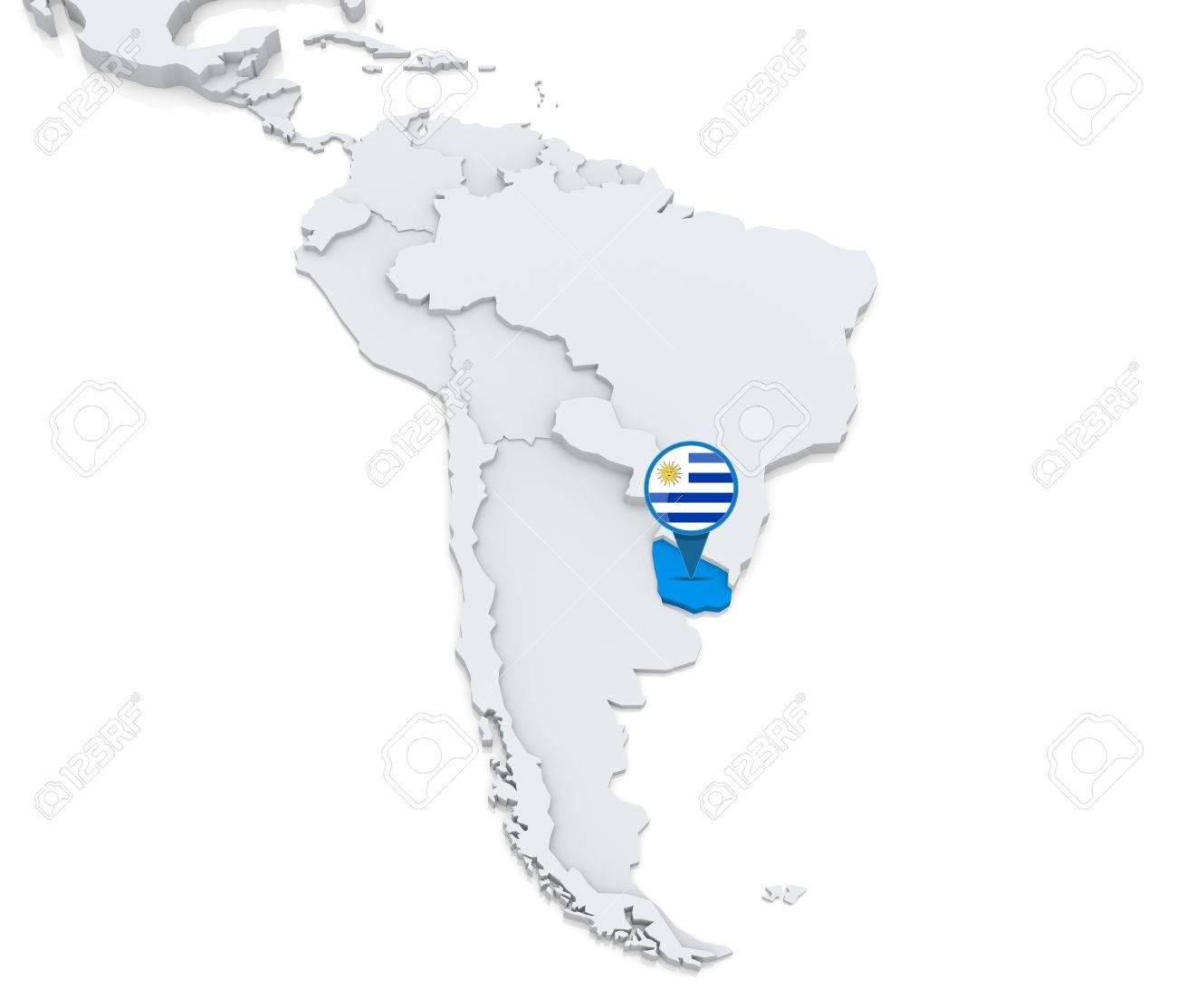 Hervorgehoben Uruguay Auf Der Karte Von Sudamerika Mit