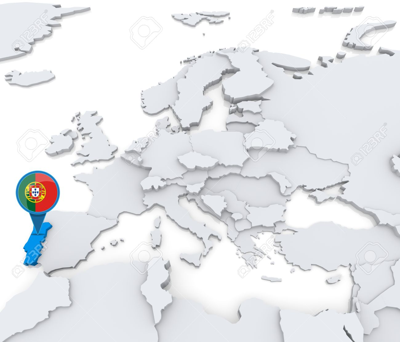 Highlighted Portugal On Map Of Europe With National Flag Stock - Portugal on map