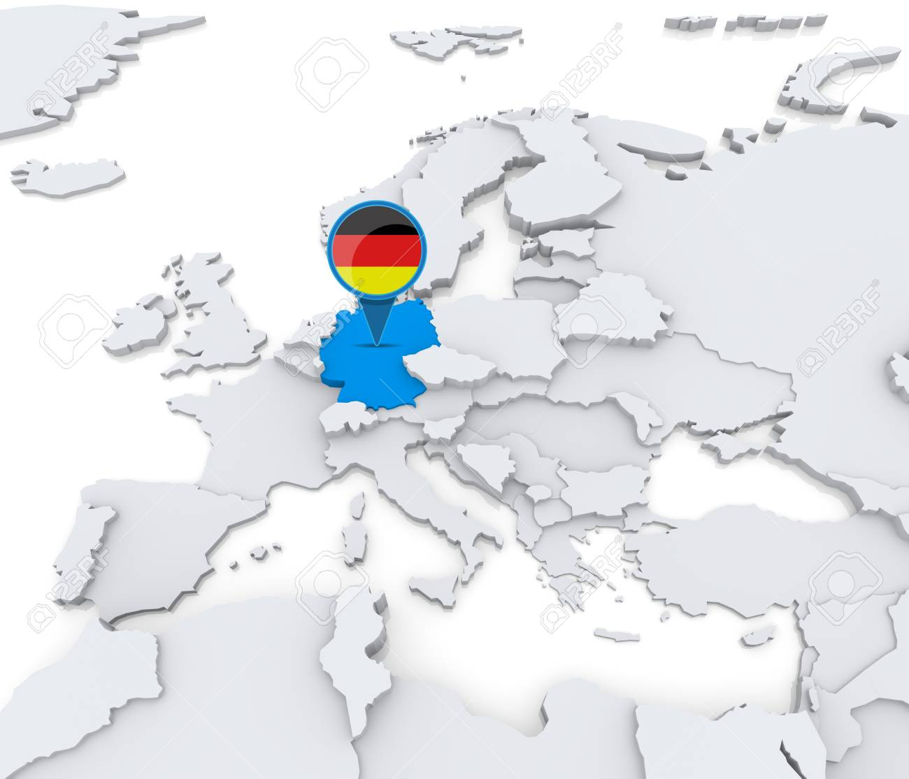 Map Of Europe With Germany Highlighted.Highlighted Germany On Map Of Europe With National Flag