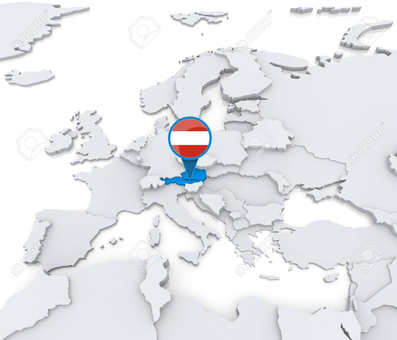 Highlighted Austria On Map Of Europe With National Flag Stock Photo    31206523