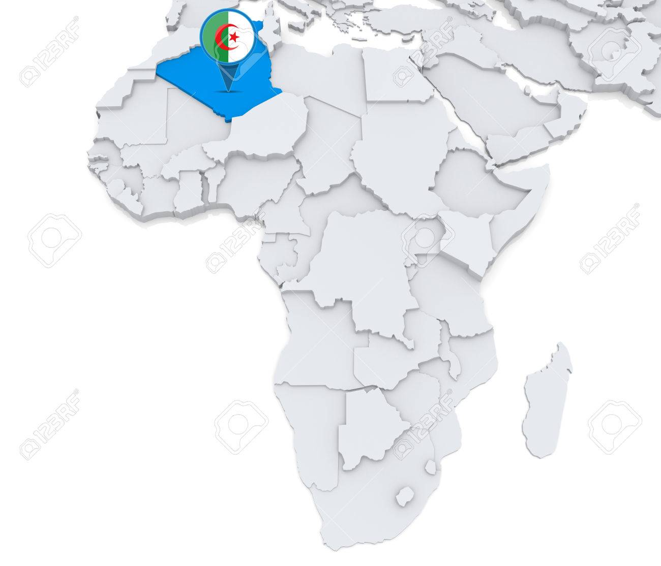 Highlighted Algeria On Map Of Africa With National Flag Stock Photo