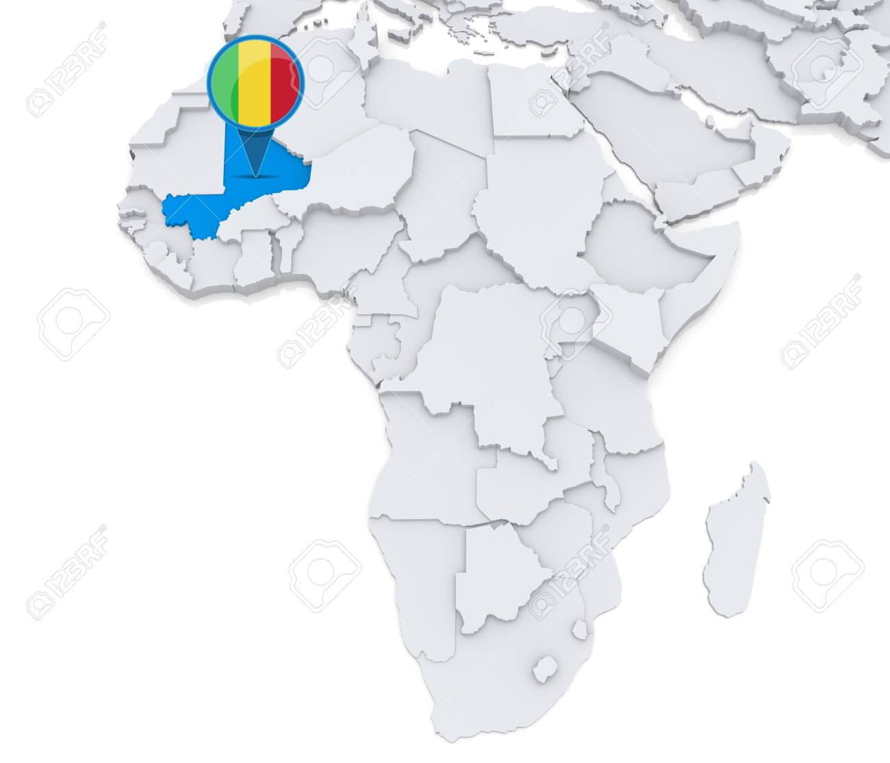 Highlighted Mali On Map Of Africa With National Flag Stock Photo