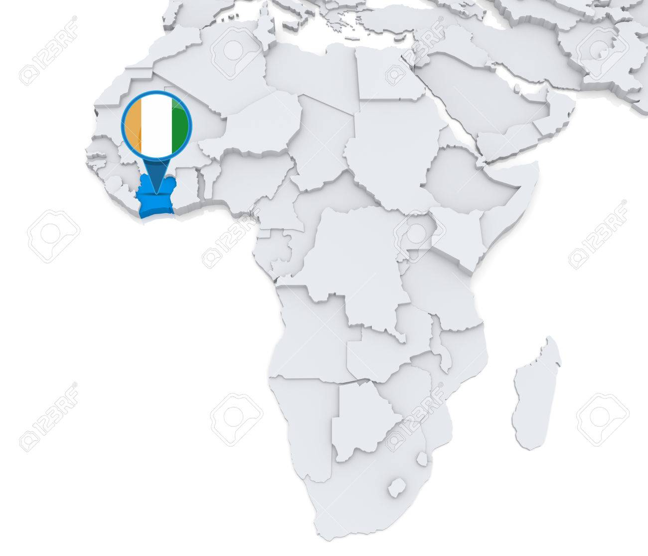 Highlighted Ivory Coast On Map Of Africa With National Flag Stock - Ivory coast map of africa