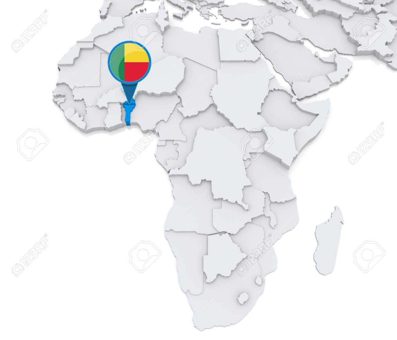 Benin Map In Africa.Highlighted Benin On Map Of Africa With National Flag