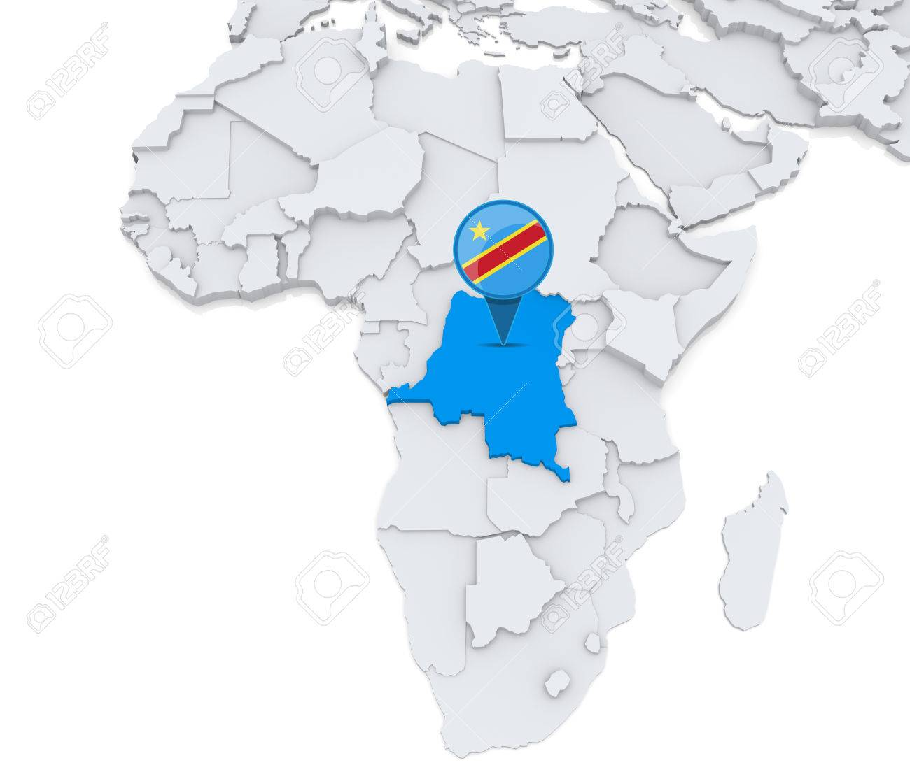 Highlighted Democratic republic of Congo on map of Africa with