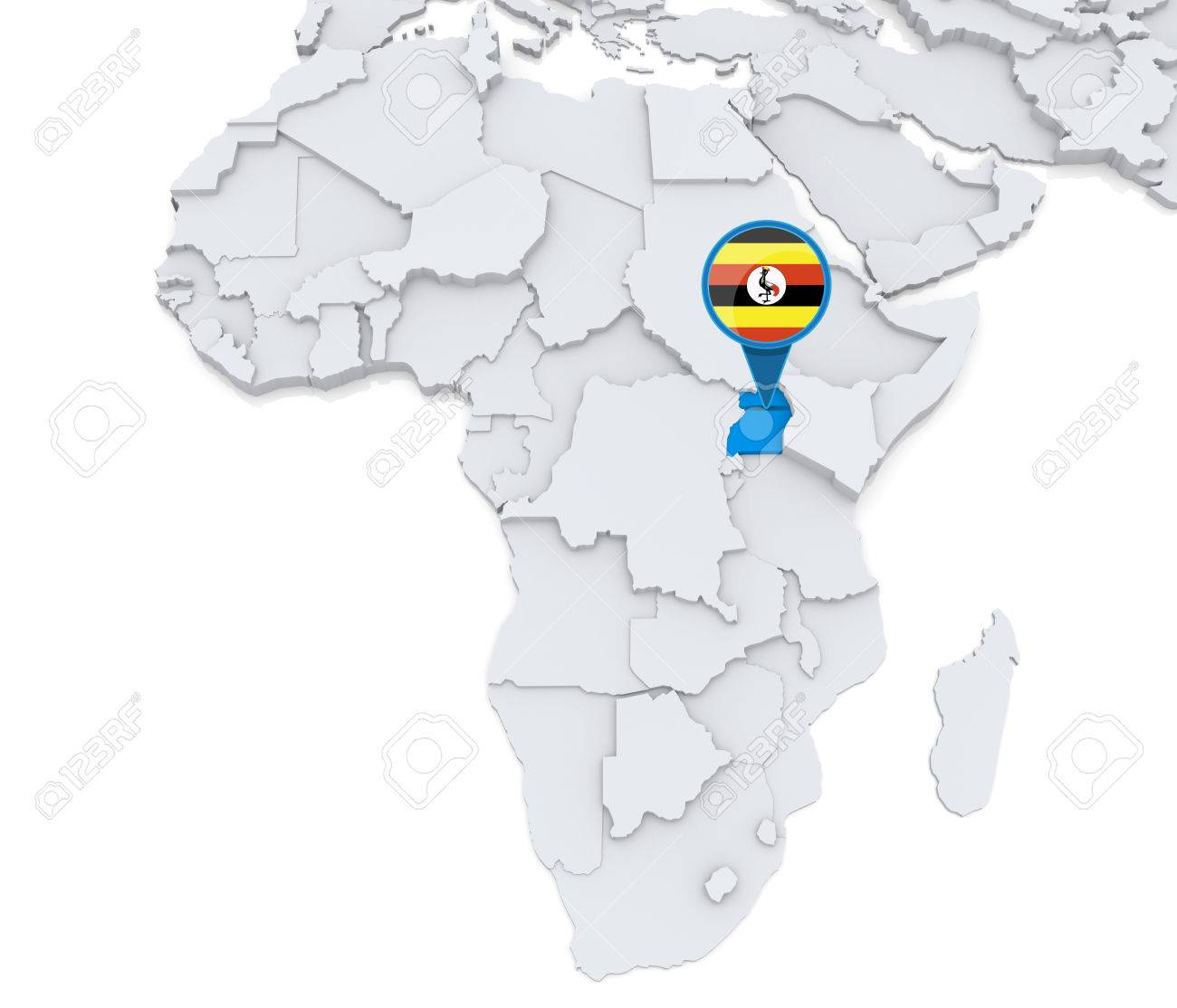 Map Of Africa Uganda Highlighted.Highlighted Uganda On Map Of Africa With National Flag