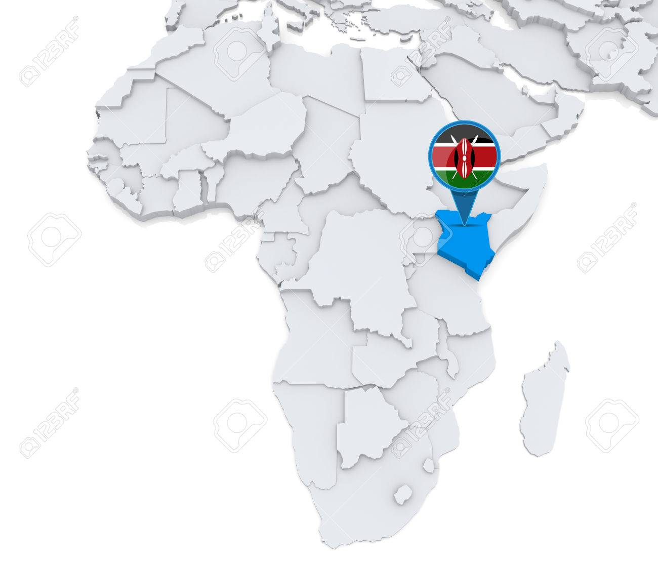 Highlighted Kenya On Map Of Africa With National Flag Photo – Map World Kenya