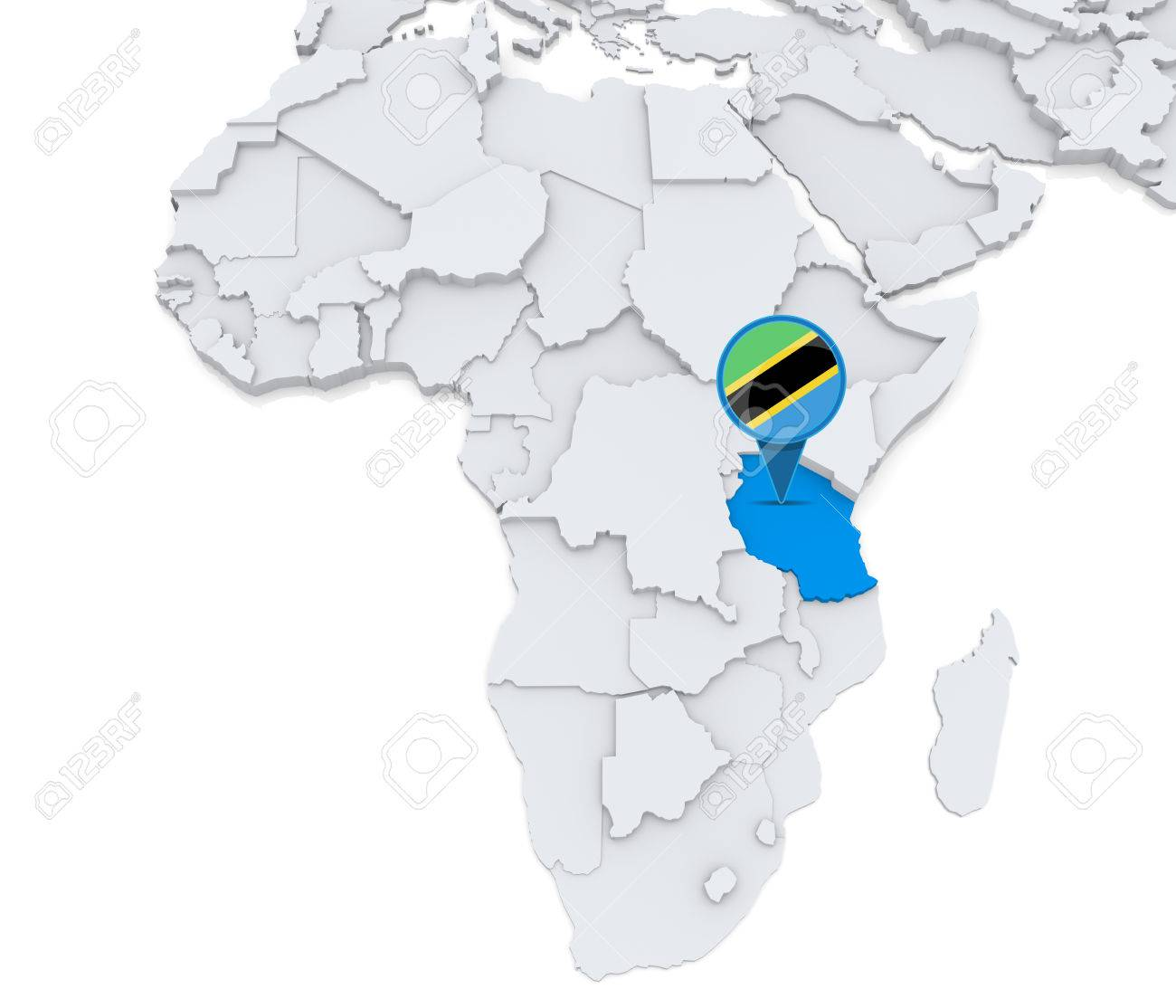 Tanzania On Africa Map.Highlighted Tanzania On Map Of Africa With National Flag Stock Photo