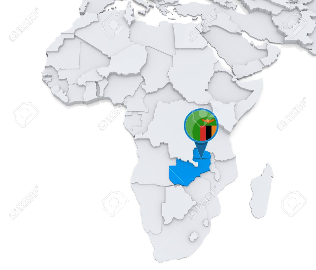 Highlighted Zambia On Map Of Africa With National Flag Stock Photo ...