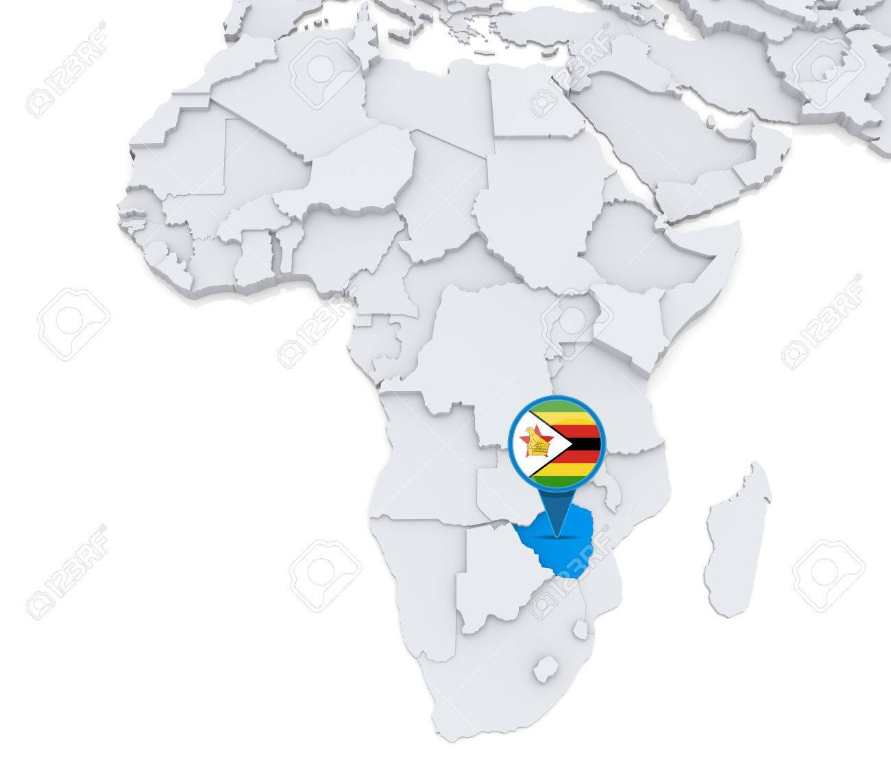 Map Of Africa Showing Zimbabwe.Highlighted Zimbabwe On Map Of Africa With National Flag