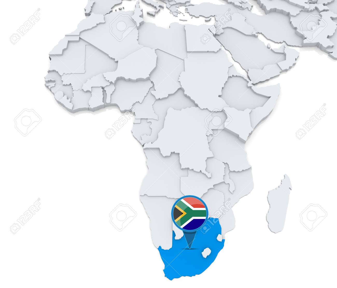 Highlighted South Africa On Map Of Africa With National Flag Stock