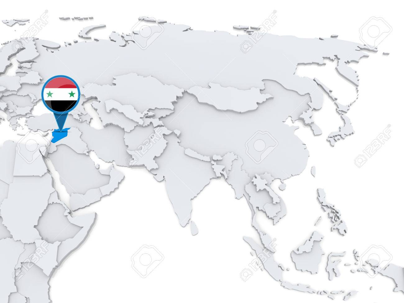 Highlighted Syria On Map Of Asia With National Flag Stock Photo