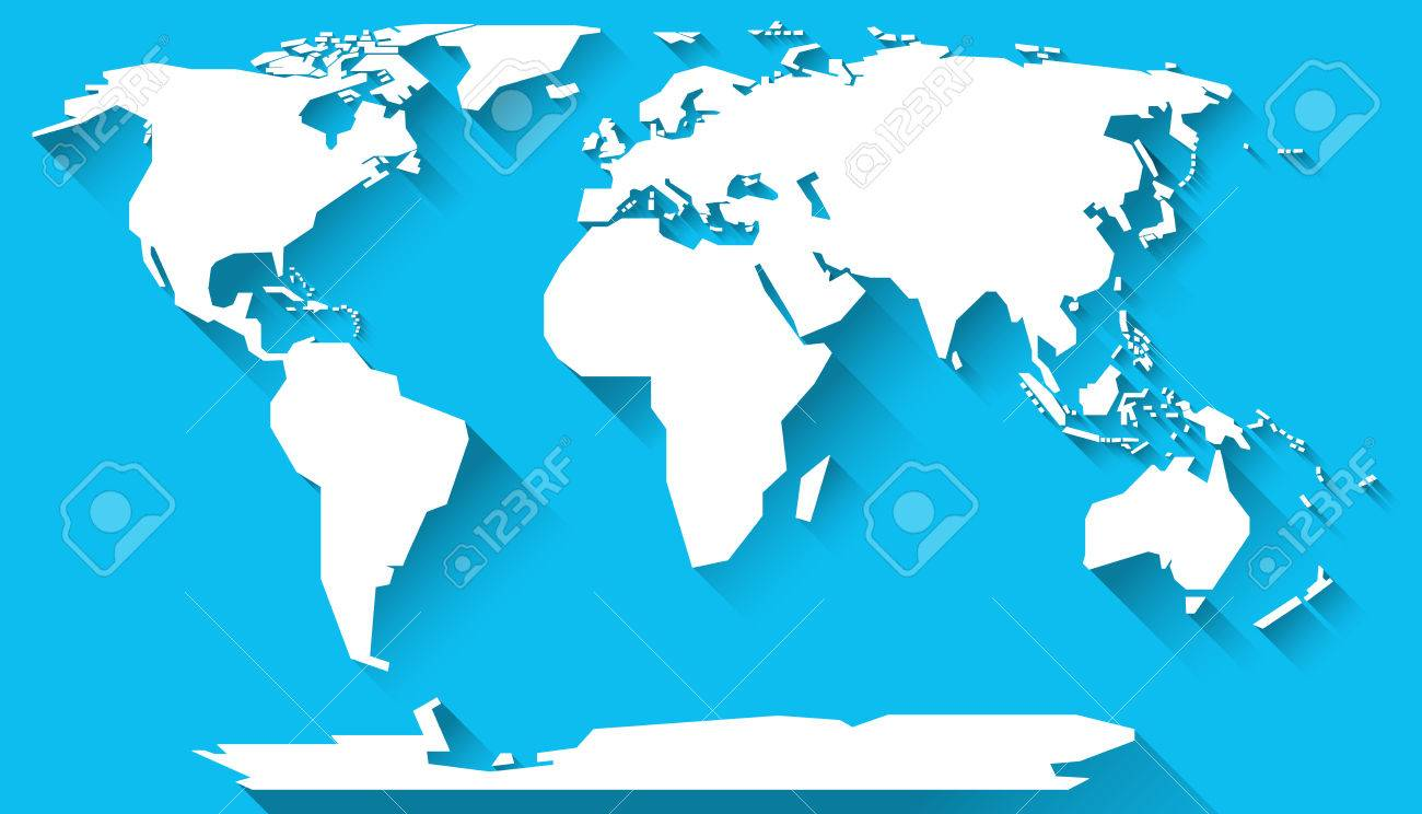 World Map In Basic Shapes Of All Continents In Flat Design Stock - Basic world map