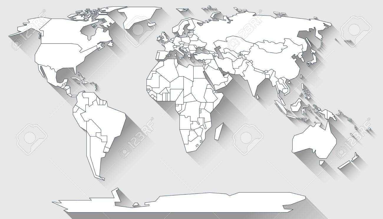 World Map In Basic Shapes Of All Continents In Flat Design Stock ...