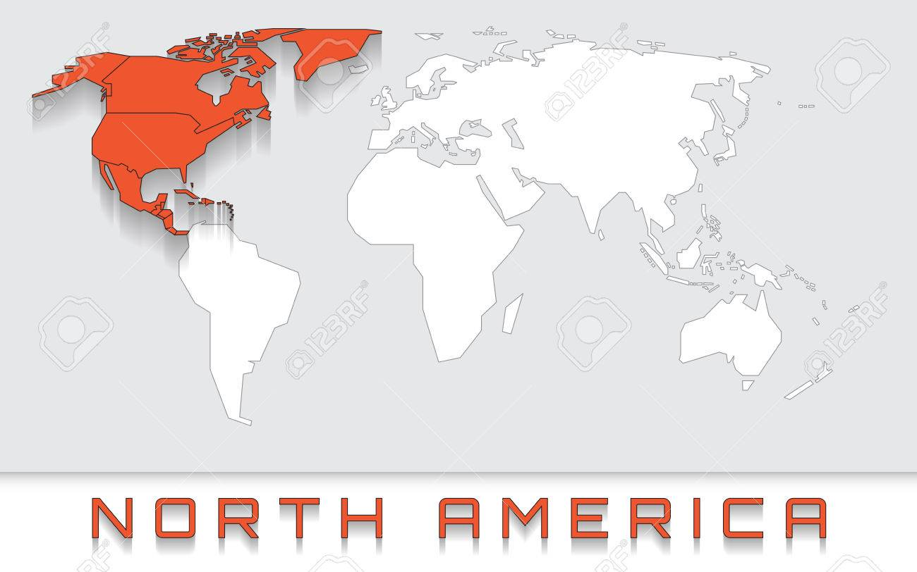 Picture of: Blank Map Of The World With Red Highlighted Continent Of North Royalty Free Cliparts Vectors And Stock Illustration Image 68570320
