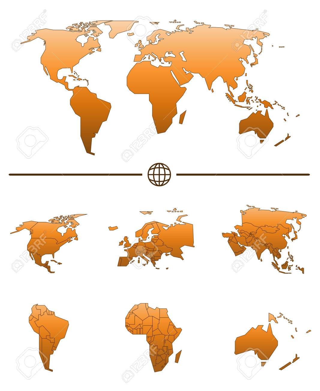 World Map Shape And Separated Continents With States Tuned In - World map shape