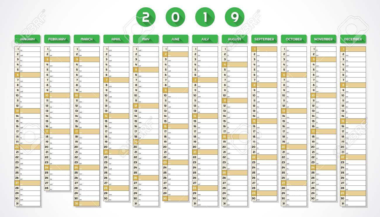 2019 s naptár Calendar For Year 2019 In One Page Green Design Royalty Free  2019 s naptár