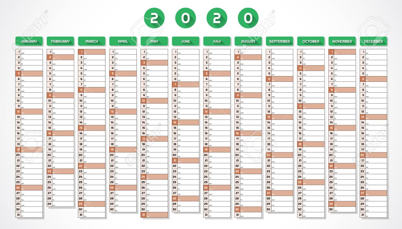 Calendar Year 2020.Calendar For Year 2020 In One Page Red Green Design