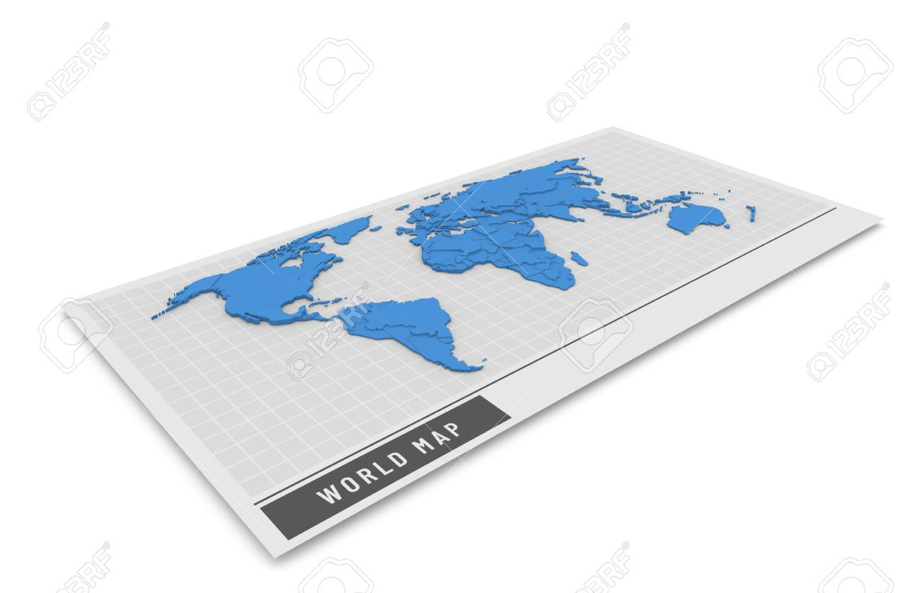 3d Globe Map Bump Map.3d Bump Map In Blue Color On The Bright Background Stock Photo