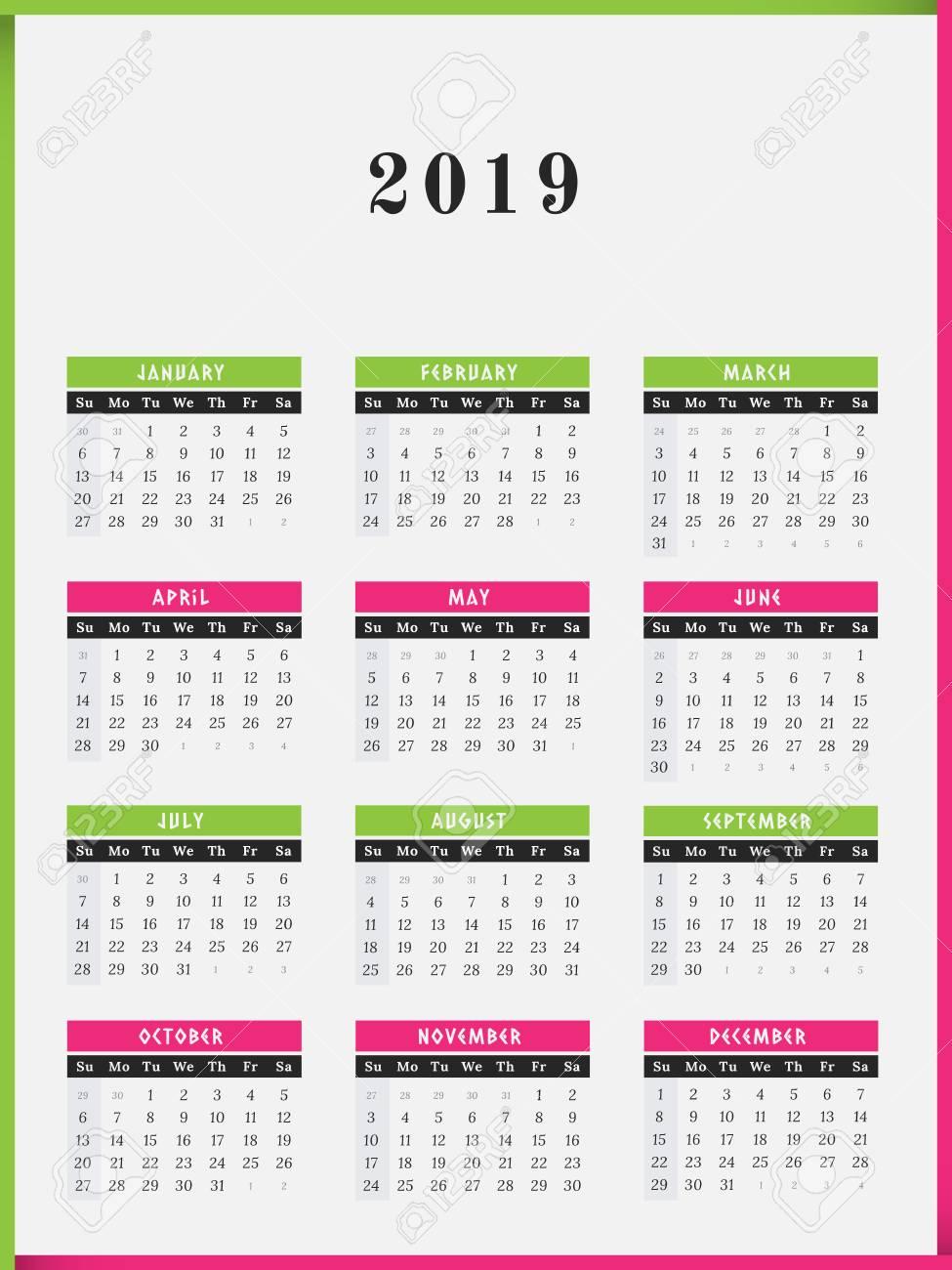 Calendario Para El Diseño De Marco De Color De Ilustración Vectorial ...