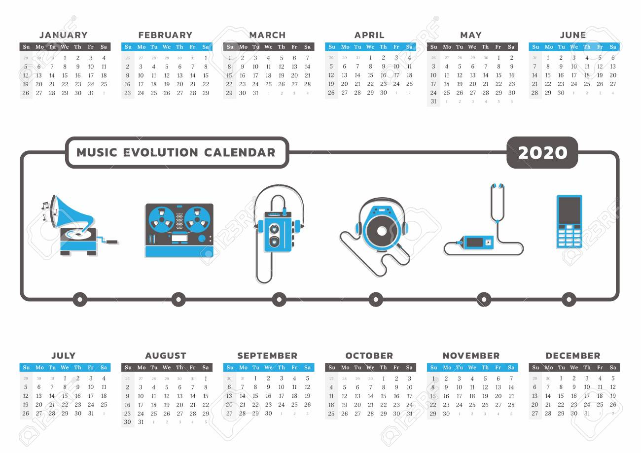 Music Calendar 2020 Calendar For Year 2020 With Music Technology Icon Graphic Royalty