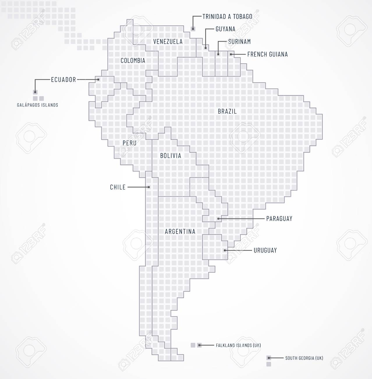 Digital map of South America continent with state borders and..