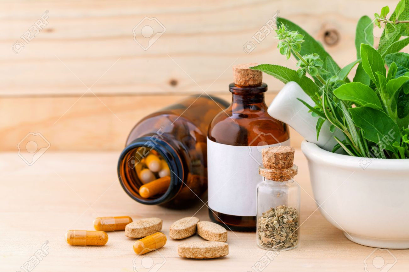 Cheap herbal supplement - Herbal Supplement Alternative Health Care Fresh Herbal Dry And Herbal Capsule With Mortar On