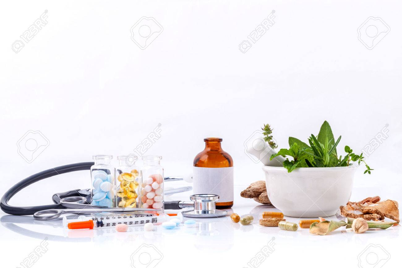 Herbal medicine VS Chemical medicine the alternative healthy care with stethoscope isolate on white background. - 46700711