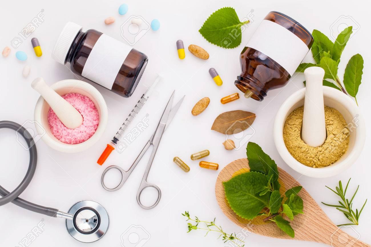 Herbal medicine VS Chemical medicine the alternative healthy care on white background. - 47780527