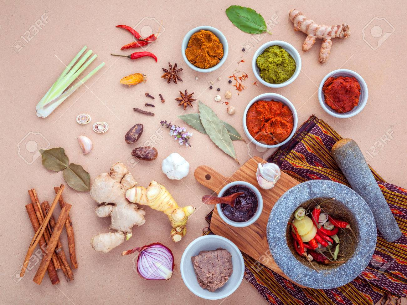 Assortment of Thai food Cooking ingredients and Paste of thai popular food red curry and green curry. - 50956062